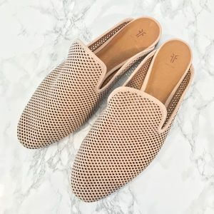 Frye Gwen Perforated Blush Leather Slide Sandals